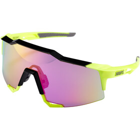 100% Speedcraft Lunettes Grand, polished black/fluo yellow